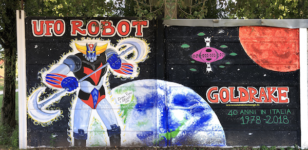 Wall painting for 40 years of Grendizer in Italy