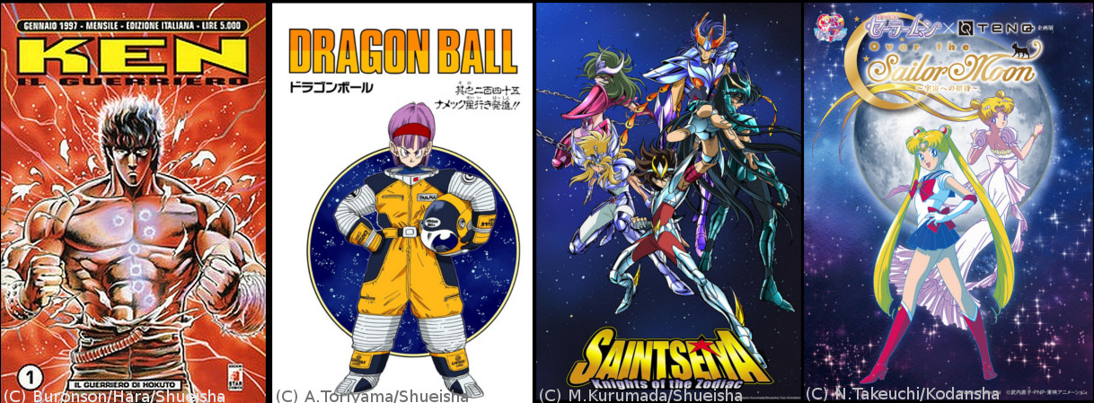 Carrellata di copertine di manga e anime: Ken in guerriero, Dragon Ball, I cavalieri dello zodiaco (Saint Seiya) e Sailor Moon